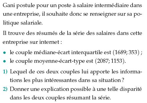Médiane et écart interquartile dans une entreprise : exercices en 1ère S.