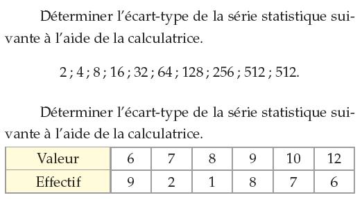 Calcul de l'écart-type d'une série statistique : exercices en 1ère S.