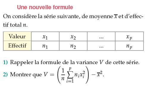Une formule de la variance : exercices en 1ère S.
