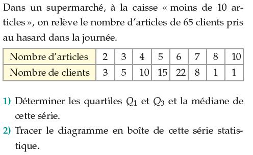 Déterminer les quartiles et diagramme en boîte : exercices en 1ère S.