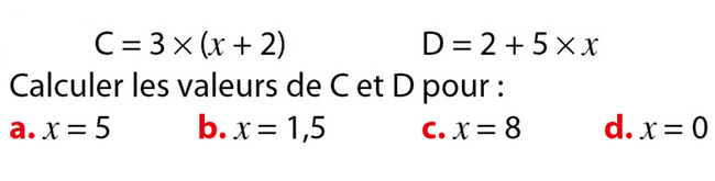 Substitutions : exercices en 5ème.