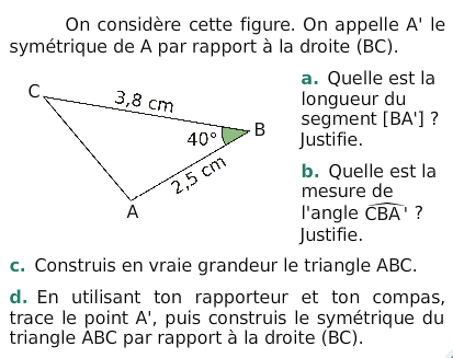 Les propriétés de la symétrie : exercices en 6ème.
