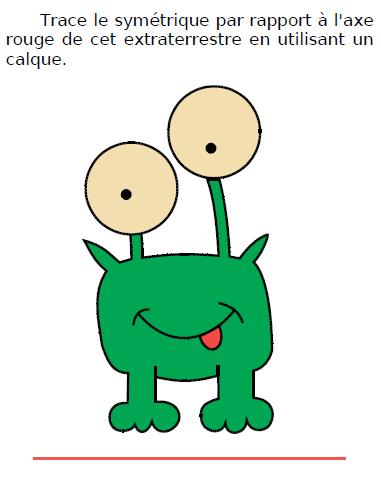 Symétrique d'un extraterrestre : exercices en CM1.