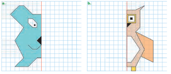 Construire la figure symétrique : exercices en CM1.