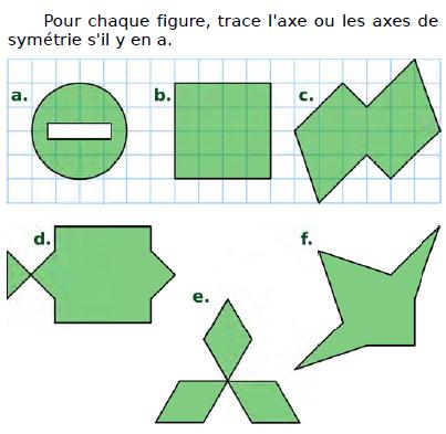 Tracer l'axe de symétrie : exercices en CM2.