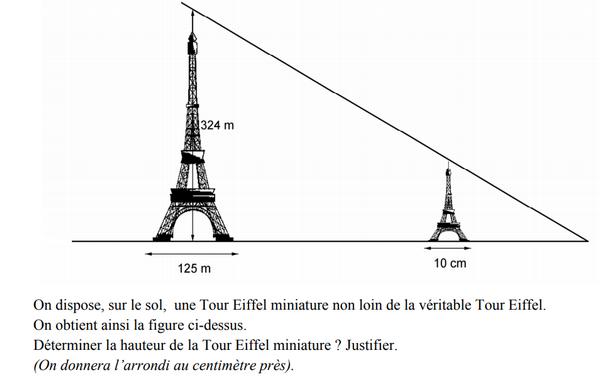 La tour Eiffel : exercices en 3ème.