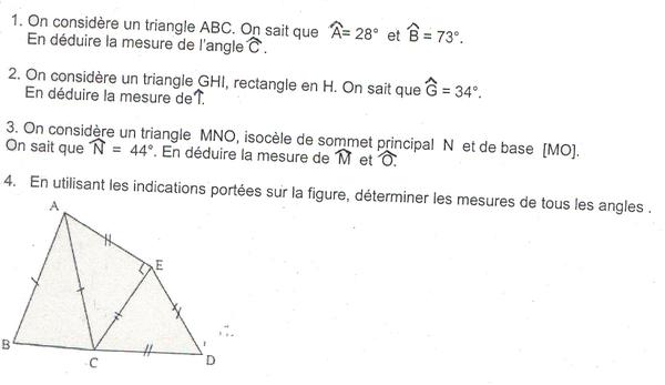 triangles et calculs d'angles : exercices en 5ème.
