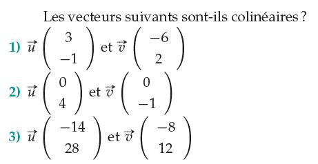 Vecteurs colinéaires : exercices en 1ère S.