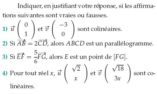 vecteurs colinéaires et parallélogramme : exercices en 1ère S.