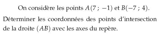 Déterminer les coordonnées des points d'intersection : exercices en 1ère S.