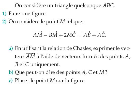 Relation de Chasles et placement de points : exercices en 1ère S.