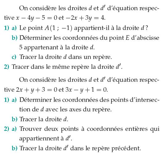 Droites et points d'intersection : exercices en 1ère S.