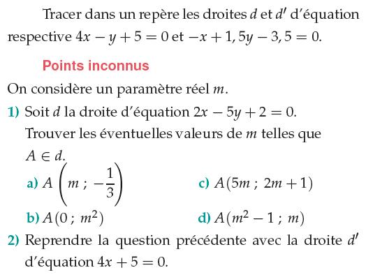 Des équations de droites et des points inconnus : exercices en 1ère S.