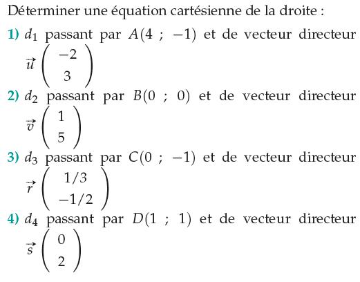 Déterminer une équation cartésiennne : exercices en 1ère S.