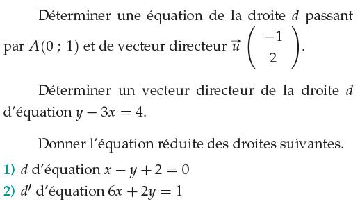 Déterminer l'équation réduite d'une droite : exercices en 1ère S.