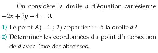 Coordonnées et équation cartésienne d'une droite : exercices en 1ère S.