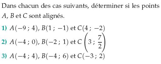 Déterminer si des points sont alignés : exercices en 1ère S.