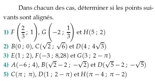Vérifier si des points sont alignés : exercices en 1ère S.