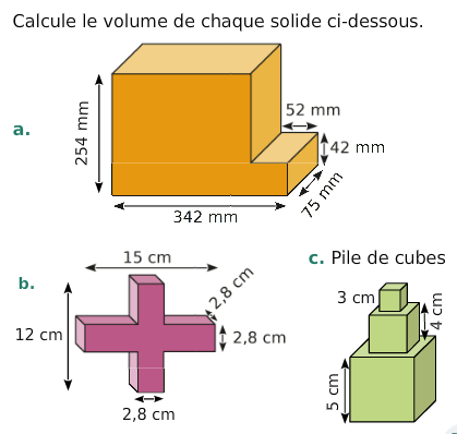 Calculer le volume de chaque solide : exercices en 6ème.
