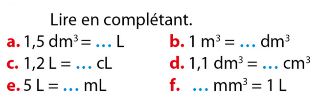 Conversion de volumes : exercices en 5ème.