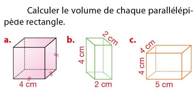 Volume d'un parallélépipède rectangle : exercices en 5ème.