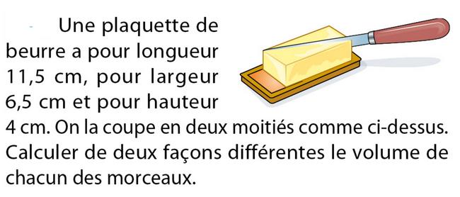 Volume d'une plaque de beurre : exercices en 5ème.