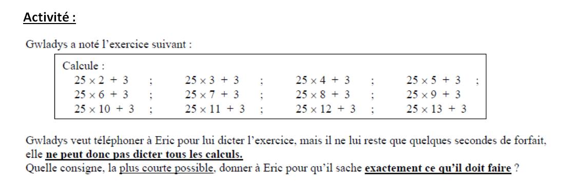 Calcul littéral : activité d'introduction