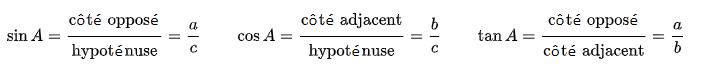 formules trigonométrie