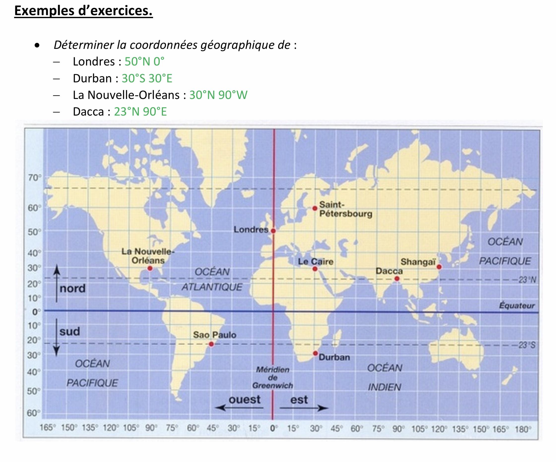 Coordonnées sphériques ou géographiques